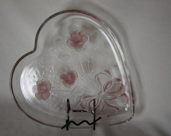 Large Crystal Heart Shape Plate Clear tinted embossed Pink Roses & Ribbons