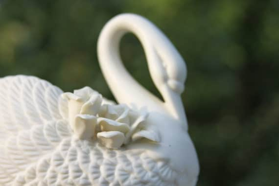 Creamy white porcelain SWAN dish with carved feathers and flowers