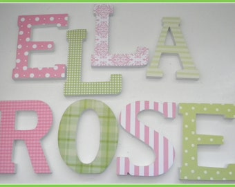 Wooden Letters for Nursery, CLASSIC PINK and GREEN Theme, Baby Girl Bedroom Decor, Feminine, Girly, Pastel, Personalized wall letters