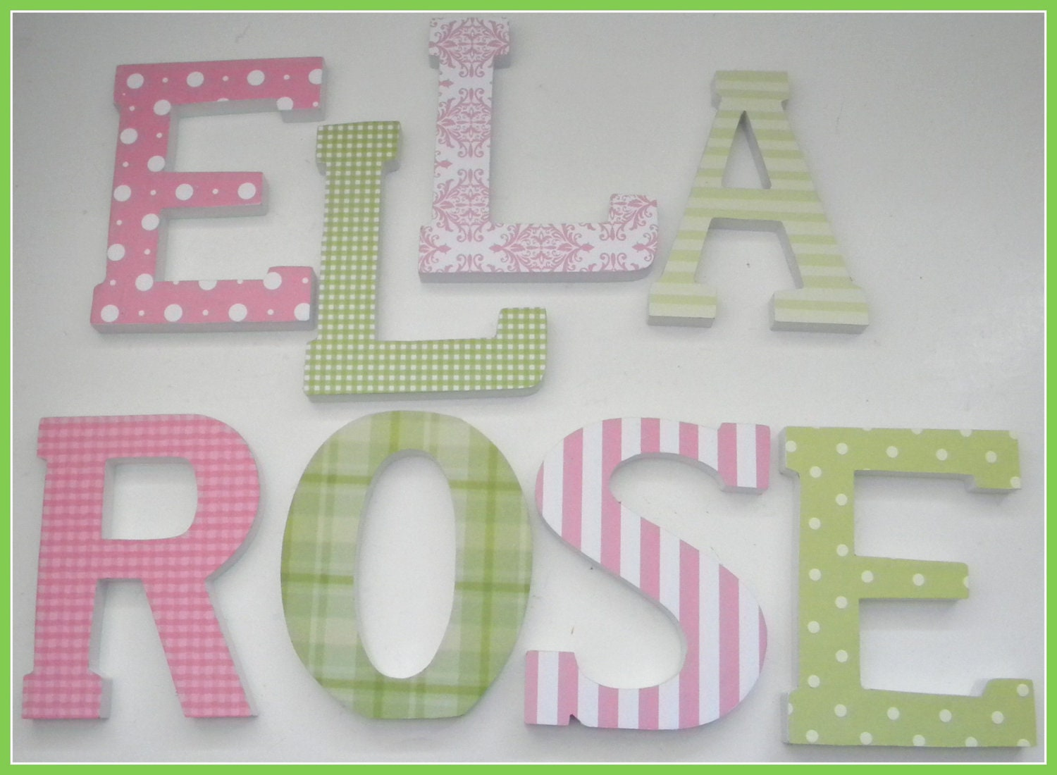 Wooden letters for nursery pink and green theme baby girl for Wooden letters for baby nursery