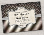 Vintage Striped Steampunk Printable Invitation - Wedding Bridal Shower Party Invitation