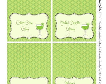 Monograms & Margaritas Printable Food Label Tents
