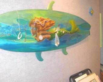 Mermaid surfboard mixed media art - whimsical mermaid art - funky surf art original unique one of a kind ocean theme