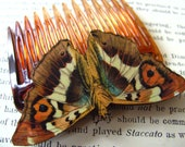 Bohemian, Lady of the Night, Wooden, MOTH, Hair comb, hair accessory, by NewellsJewels on etsy