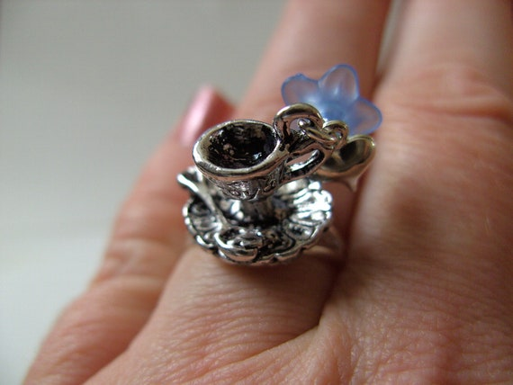 Delicate,Alice in Wonderland, Tea party, Silver and Blue, ring, OOAK,  by NewellsJewels on etsy
