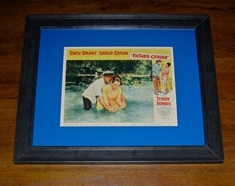 "Vintage Lobby Card of the Classic Movie ""Father Goose"" with Cary Grant and Leslie Caton / Framed and Matted"