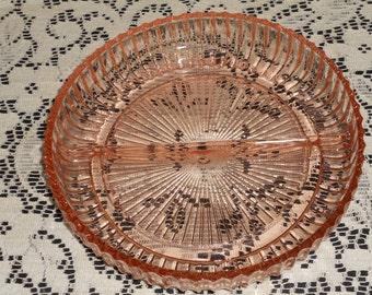 Vintage Round Pink Depression Glass-Divided Relish Dish