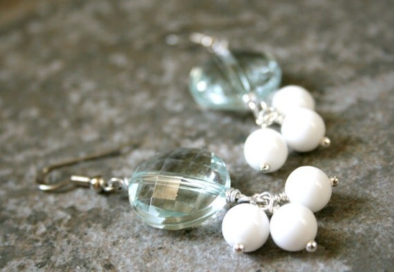 Bold Long Mint and White Earrings Lucite Sparkle Beads