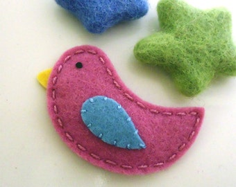 Felt hair clip -No slip -Wool felt -Bird -old pink