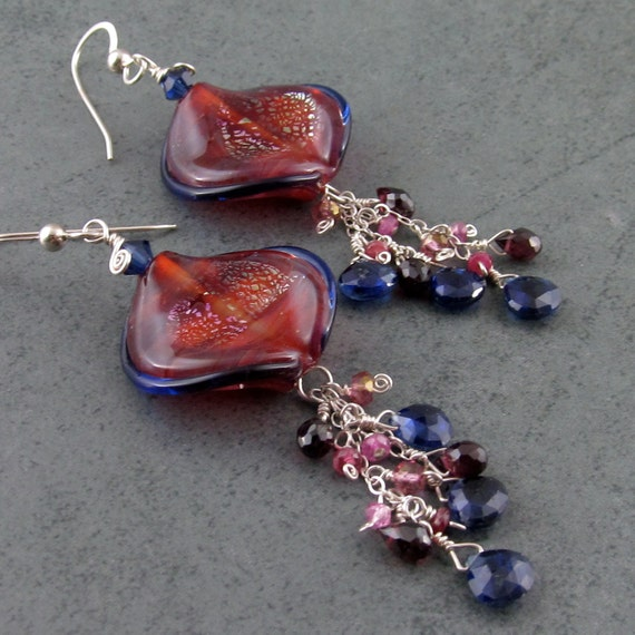 Jellyfish earrings with Kyanite, garnet, ruby, mystic pink topaz earrings, handmade gemstone jewelry-Electric Jellyfish