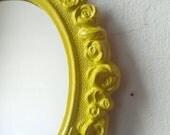 Retro Kitchen, Boho Chic, Apartment Wall, Coastal Beach Decor, Small Oval Wall Mirror, Hand Painted Chartreuse Yellow, Home Decorating Ideas