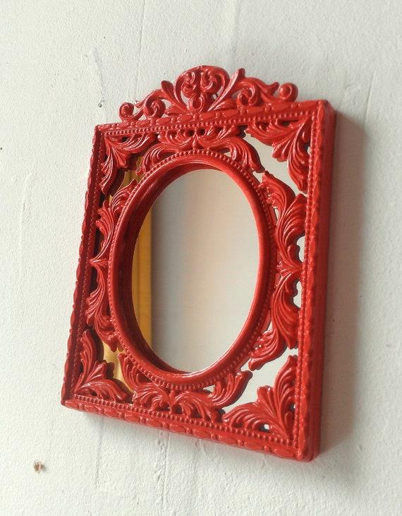 Decorative Wall Mirror in Blood Orange Vintage Brass Frame