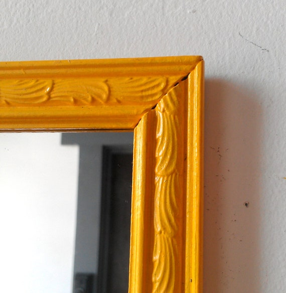 Wood Framed Accent Mirror in Bright Marigold Yellow 10 by 8 inches