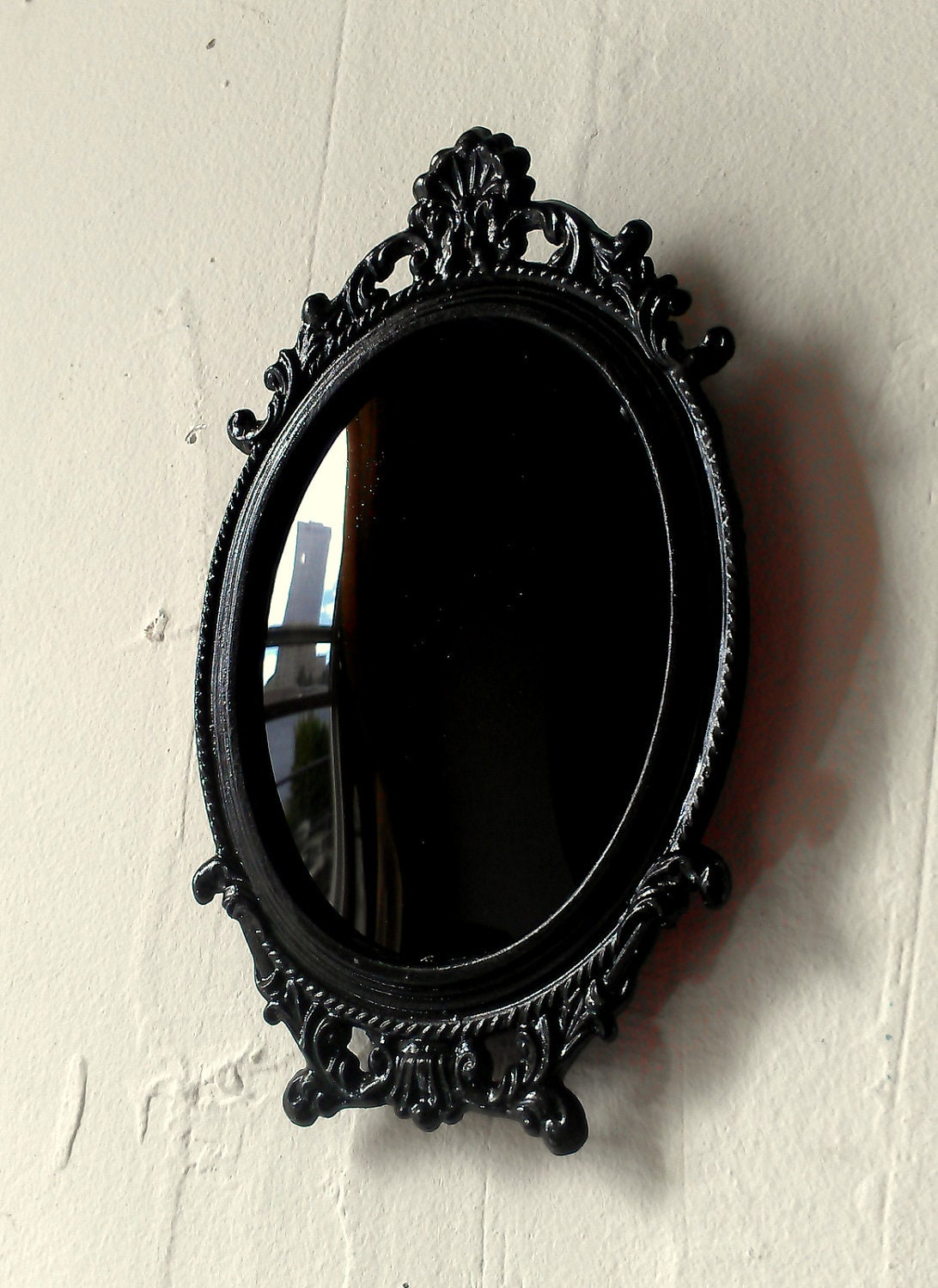 Black Scrying Mirror in Miniature Vintage Oval Frame with