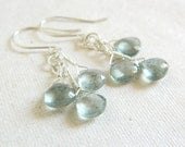 Watermoss Earrings - AAA Moss Aquamarine Blue Green Stone Wire Wrapped Sterling Silver - Ready to Ship