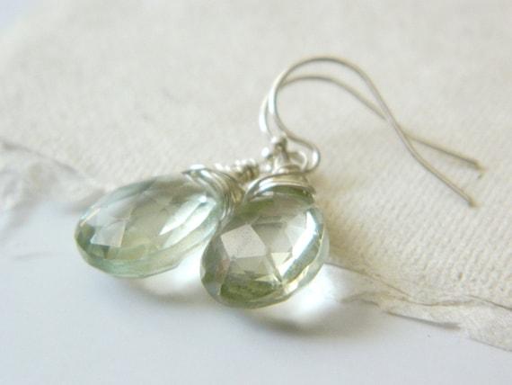 Amethyst 'Green Tea Earrings' wire wrapped sterling silver mint sparkle AAA gemstone - Ready to Ship