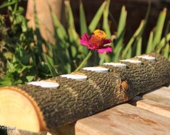 20-Inch Tealight Candle Log Holder, Rustic Wedding Cabin Decor Table Piece Slab Ash Wood