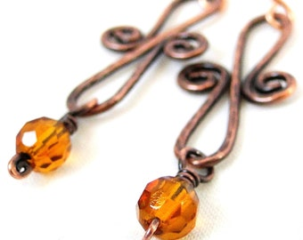 Infinity Earrings, Antiqued Copper Jewelry, Amber Glass, Handcrafted Jewelry, Wire Wrapped Earrings