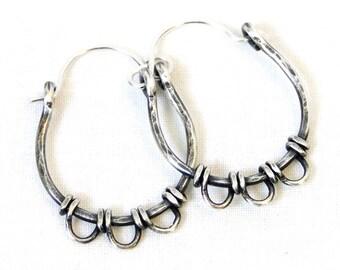 Hoop Earrings, Wire Wrapped Jewelry, Sterling Silver Earrings, Modern Jewelry, Petals, Small