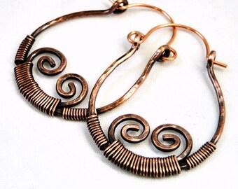 Hoop Earrings, Antiqued Copper, Wire Wrapped Jewelry, Modern Jewelry, Handcrafted Earrings, Scrolls