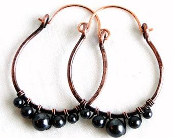 Hematite and Antiqued Copper Earrings Handcrafted Jewelry Medium Hoop Earrings