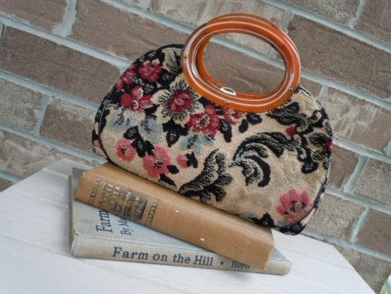 Vintage Purse Chenille Tapestry Kadin Handbag Floral Cream Pink Burgundy Blue Gray 1960s Bakelite Handles