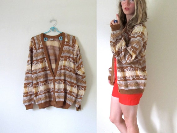 vintage 1980s Geometric Print Sweater Cardigan in Nutmeg Brown and Vanilla -- S/M/L
