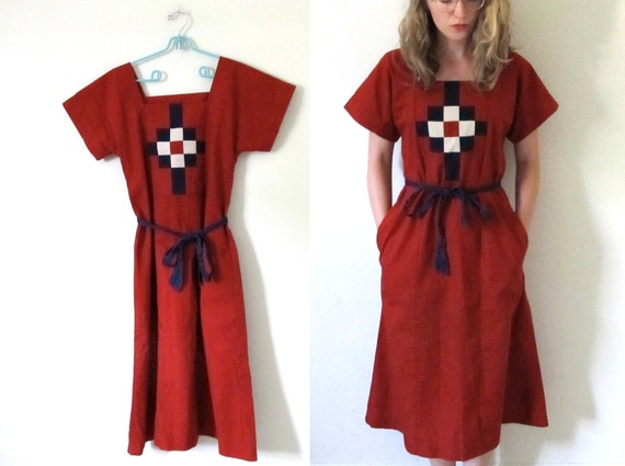 vintage 1960s Dress // Quilt Folk Print // Burnt Sienna Orange // S/M