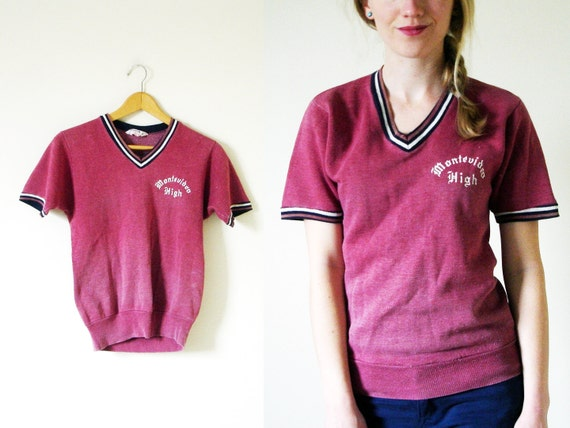SALE // vintage 1960s Shirt // Distressed // Maroon Burgundy // High School Spirit // Athletic // S