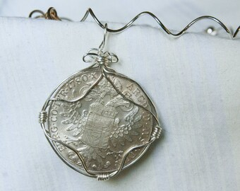 1780 Austria Maria Theresa Thaler Silver Coin Necklace