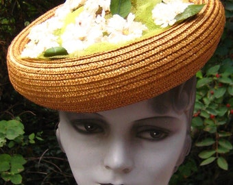 Killer Fab 40s Straw Millinery  Tilt Hat Hot N Sexy Hollywood
