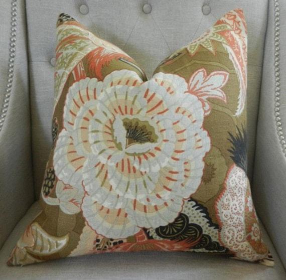 Decorative Designer pillow cover - Schumacher  Zanzibar pillow cover in Sandalwood - 20X20 - Pattern on the front