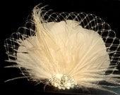 Wedding Hair Clip, Bridal Fascinator, Feather Hair Clip, Ivory Hair Clip, Rhinestone Brooch, French Netting, Peacock Hair Clip