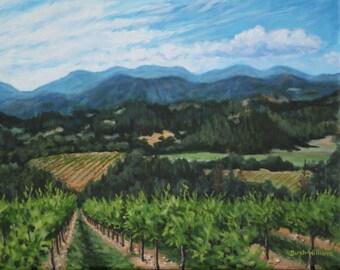 Napa Valley Vineyard Landscape Art Print -  8 x 10 Giclee