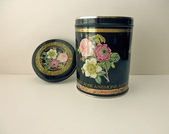 Vintage Black Floral Decorative TIN- roses, peony, gold trim