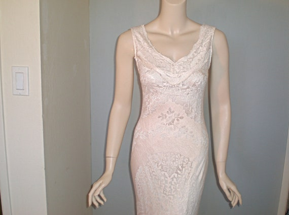 Victorian Blush Scallop LACE Wedding Dress w Train HIppie Boho ooak M-L