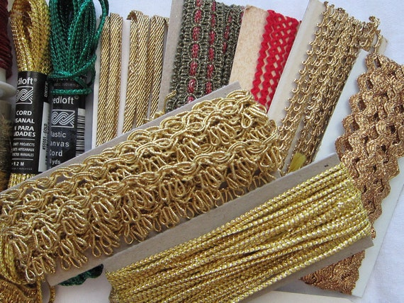 metallic trim DESTASH - mostly vintage, great for holiday projects, Christmas trim