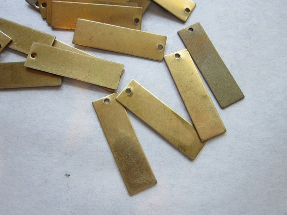 SALE - vintage brass tags - DOG TAG, narrow rectangle - brass stampings - 10 pieces - 8mm x 28mm