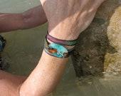 Beach bracelet , Koi Pond silk wrap bracelet, nature lover jewelry, yoga bracelet, worry stone, fused glass by Designs by Leslie