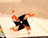 Pinwheel Hair Clip Orange Chevron and Black Halloween Hair Flower