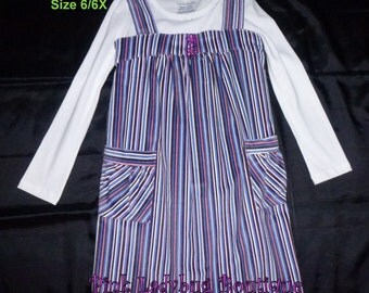 CLEARANCE Girls Striped Corduroy Jumper with Long Sleeve Knit Top - Size 6/6X is Ready to Ship