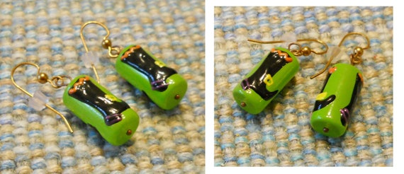 WITCH BOOT Earrings -- Lampwork Beads