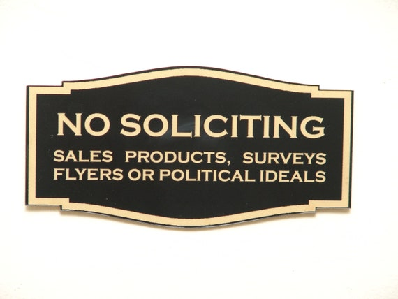 Custom Laser Engraved No Soliciting Sign