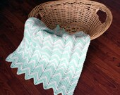 Pastel Green and White Baby Afghan