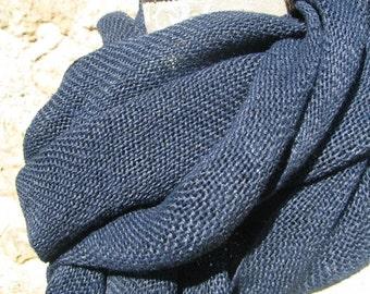 Handwoven Linen Flax Scarf (Shawl)- Indigo Blue