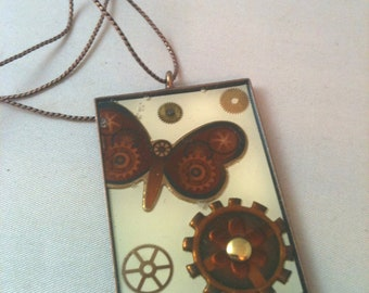 Butterfly with Gears Steampunk Resin Necklace