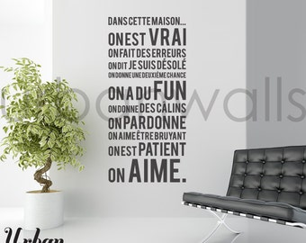 French Vinyl Wall Sticker Decal, Dans Cette Maison
