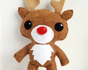 Rudolph the red nose reindeer handsewn plush stuffed animal