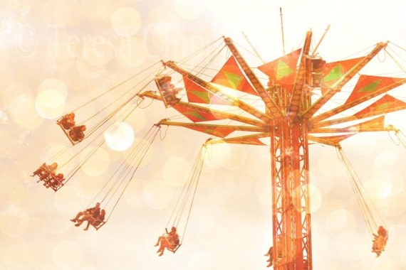 Carnival Ride, Nursery Art Photo, Fairground Print, Swinging At The Fair, Screams Joyful Fun Wall art, Carnival Home Decor, 8x12,12x18,20x30
