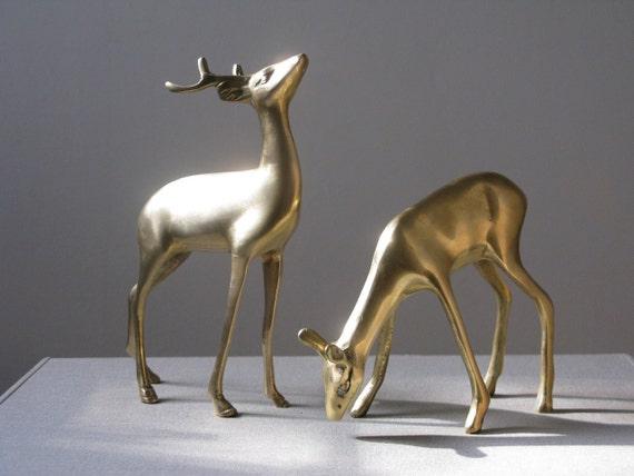 RESERVED For BELLE - Vintage Brass Deer, Set of Two